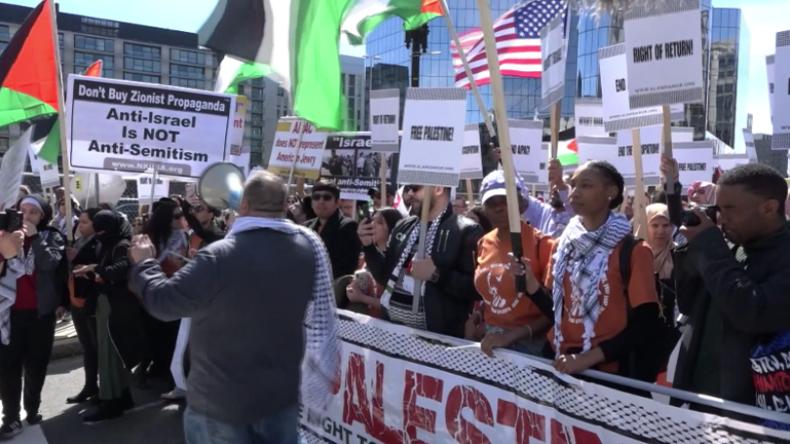 """USA: Protest für Palästina vor AIPAC-Konferenz – """"Jegliche Kritik wird als Antisemitismus abgetan"""""""