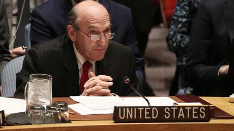Der US-Sonderbeaftragter Elliott Abrams am 26. Februar im UN-Sicherheitsrat während der Abstimmung zu Venezuela.