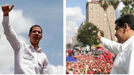 Der reguläre Präsident Venezuelas Nikolas Maduro (rechts) und sein Herausforderer, selbsternannter, vom Westen unterstützter
