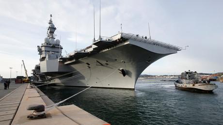 Der französische Flugzeugträger Charles de Gaulle im Marinestützpunkt in Toulon, 8. März 2019.