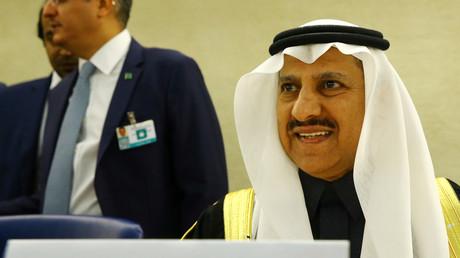 Der Präsident der Menschenrechtskommission Saudi-Arabiens, Bandar al Aiban, bei den Vereinten Nationen anlässlich der jährlichen Überprüfung der Menschenrechtssituation in Saudi-Arabien,  Genf, Schweiz, 5. November 2018.