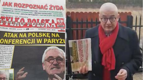Der Abgeordnete Michal Kaminski mit der unsäglichen Zeitung.