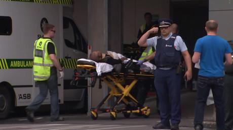 Ein Opfer des Terroranschlags in Christchurch am 15. März 2019 wird ins Krankenhaus eingeliefert, Neuseeland