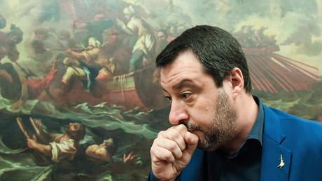 Der italienische Innenminister und stellvertretende Premierminister Matteo Salvini nach einer Pressekonferenz am 11. Februar 2019 in Rom.