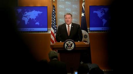 US-Außenminister Mike Pompeo beantwortet Fragen im U.S. State Department am 15. März 2019 in Washington.