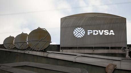 Darstellungen des Ölhandels am PDVSA-Hauptquartier, Caracas, Venezuela, 28. Januar 2019.