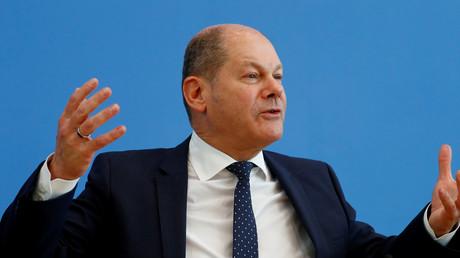Finanzminister Scholz am Mittwoch auf der Pressekonferenz