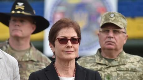 US-Botschafterin in Kiew, Marie Jowanowitsch, bei der Eröffnung der Militärübung Rapid Trident am 3. September 2018 bei Jaworiw in der Ukraine, wo die USA einen Armeestützpunkt unterhalten.