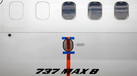 Eine versiegelte Boeing 737 MAX 8 von Garuda Indonesia am 13. März 2019 auf dem internationalen Flughafen Soekarno-Hatta in der Nähe von Jakarta.