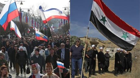 Während der Wunsch der Krimbewohner nach einer Wiedervereinigung mit Russland verurteilt wird, drängt US-Präsident Trump für die Anerkennung der israelischen Souveränität über die eroberten syrischen Golanhöhen.