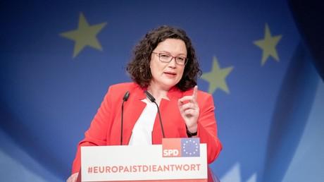 SPD-Chefin Andrea Nahles spricht am 23. März 2019 auf einem Parteikonvent zur Europawahl in Berlin.