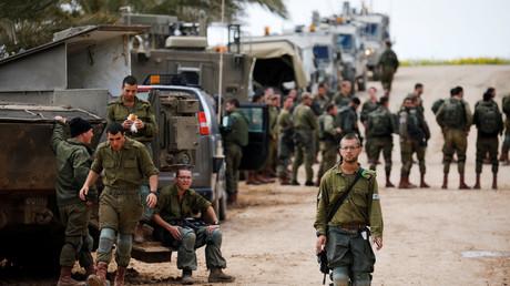 Israelische Soldaten nahe der Grenze zu Gaza, Israel, 15. März 2019.
