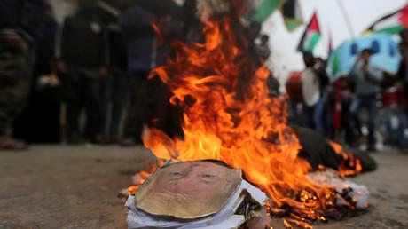 (Archivbild). Aufnahme während einer Demonstration im südlichen Gazastreifen am 11. Februar 2018.