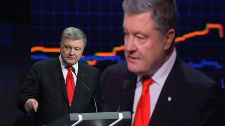 Petro Poroschenko während eines Wahlkampfauftritts beim Sender ICTV. Der Sender gehört dem Oligarchen Wiktor Pintschuk.