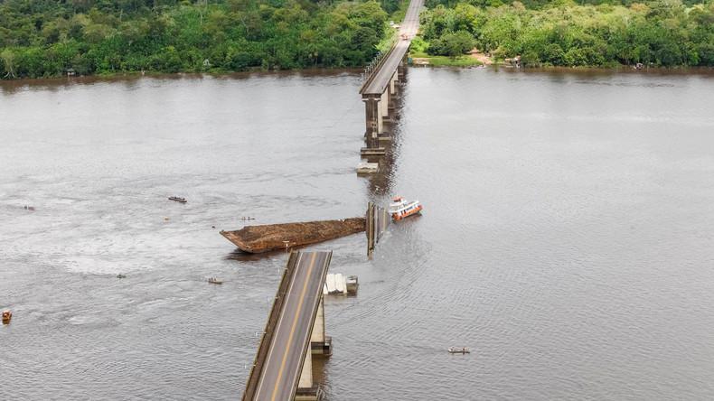Schiff prallt gegen Brückenpfeiler in Brasilien – Flussüberführung stürzt teilweise ein