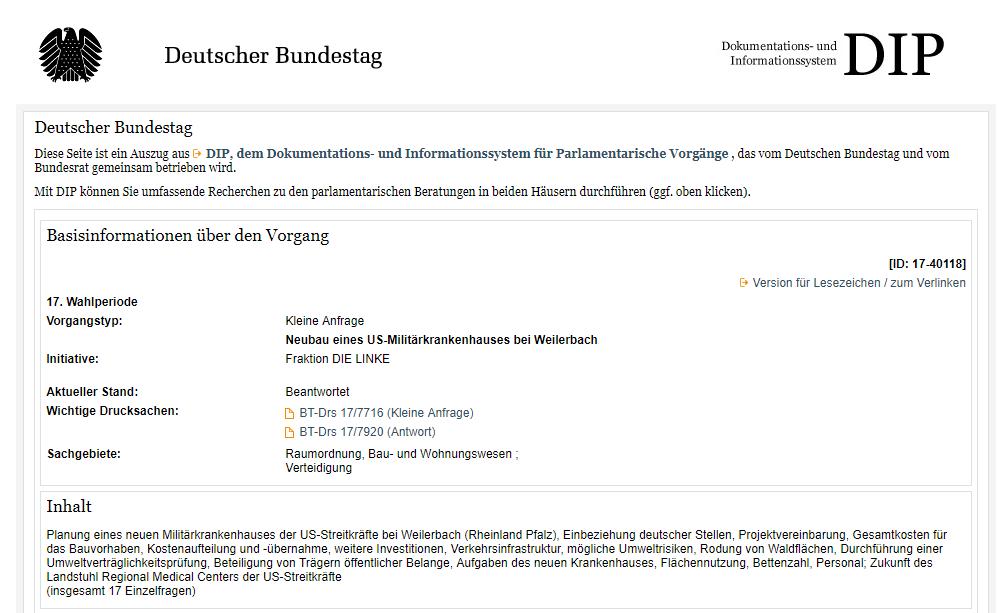 Die Saga geht weiter: Wieso finanziert deutscher Steuerzahler US-Militärkrankenhaus in Ramstein?