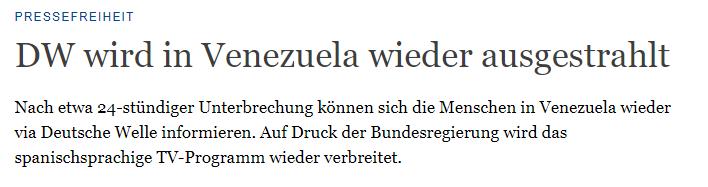 """""""Unser Signal in Venezuela abgeschaltet"""" - Deutsche Welle greift ganz tief in die Fake News-Kiste"""