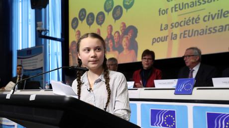 Angekommen im Machtzentrum: Greta Thunberg spricht in Brüssel auf einer EU-Konferenz. Mit ihrer Kritik an der US-Armee dürfte sie sich innerhalb des politischen Establishments jedoch kaum Freunde gemacht haben.