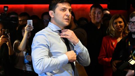 Der führende Präsidentschaftskandidat Wladimir Selenskij am Wahlabend, 31. März 2019
