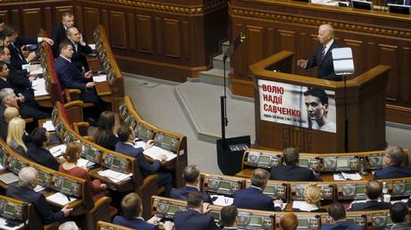 Drohungen im Gepäck? Joe Biden spricht vor dem ukrainischen Parlament in Kiew (8. Dezember 2015)