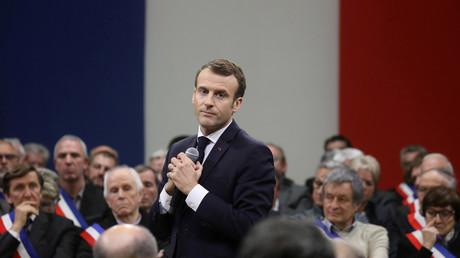 Der französische Präsident Emmanuel Macron während einer der