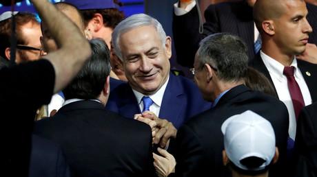 Der israelische Premierminister Benjamin Netanjahu am Wahlabend in  in Tel Aviv, Israel, am 10. April 2019.