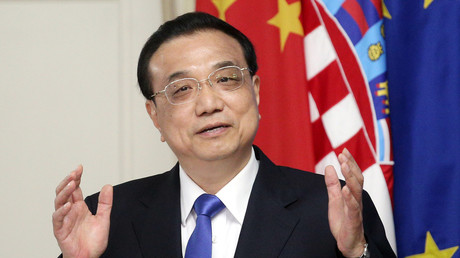 Chinas Ministerpräsident Li Keqiang bei seinem ersten Besuch in der kroatischen Hauptstadt Zagreb am 10. April