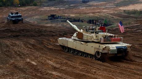 Symbolbild: Ein Abrams-Panzer der US-Armee bei einer Übung der NATO-Kampfgruppe