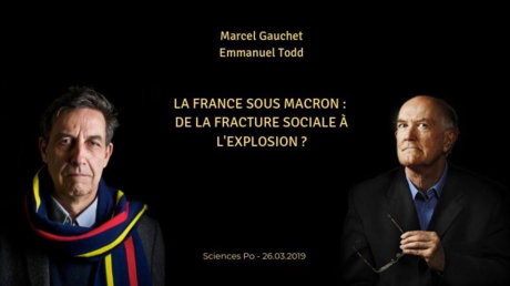Ankündigung der Veranstaltung mit Todd (links) und Gauchet