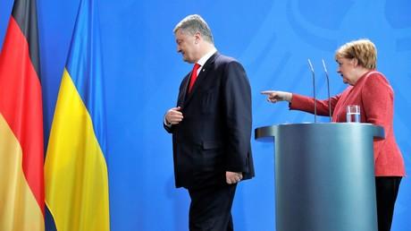 Angela Merkel empfängt den ukrainischen Präsidenten Petro Poroschenko am 12. April 2019 im Kanzleramt