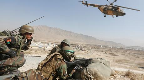 Soldaten der Afghanische Nationalarmee (ANA) während einer militärischen Übung bei Kabul (17. Oktober 2017).