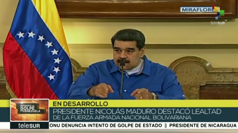 """Maduro erklärt Putschversuch für gescheitert und antwortet auf """"Lüge"""" vom US-Außenminister"""