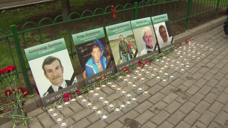 Gedenken an die Opfer des Massakers vom 2. Mai 2014 in Odessa und Moskau