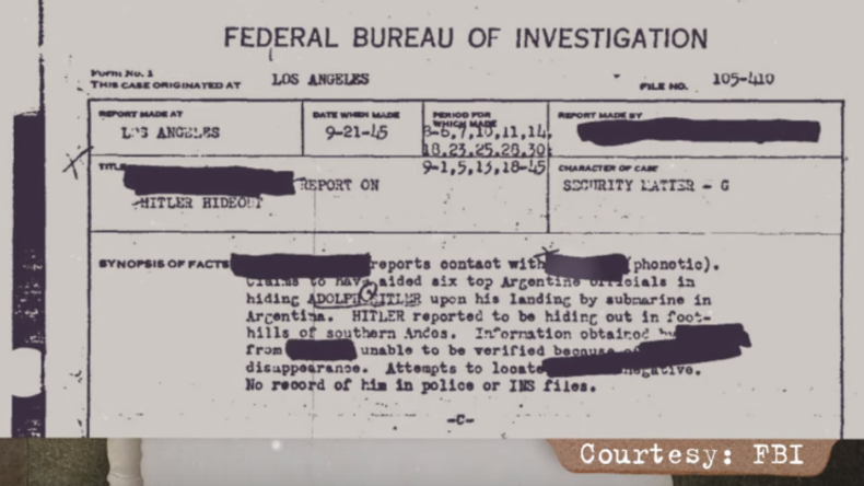 FBI-Geheimakten freigegeben: Könnte Adolf Hitler wirklich nach Lateinamerika geflohen sein? (Video)