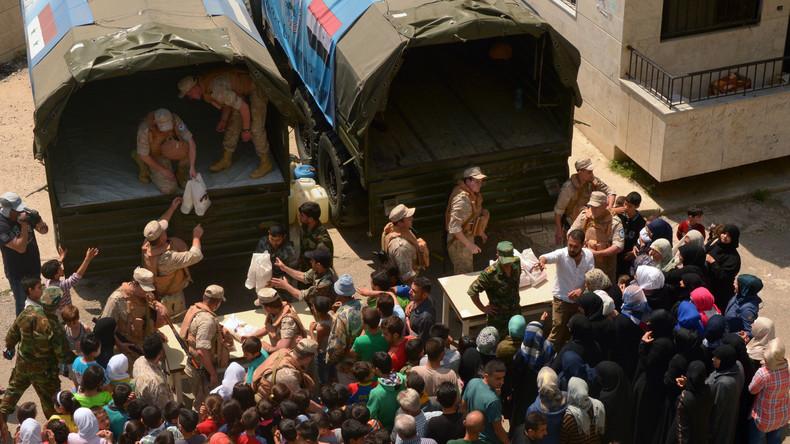 Russisches Militär liefert mongolische humanitäre Hilfe in die syrische Provinz Latakia