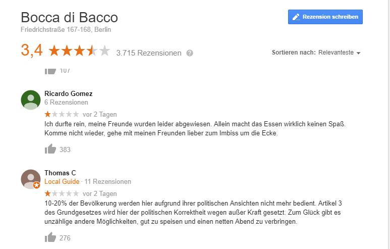 Berliner Restaurant lehnt Bewirtung der AfD-Spitze ab – und erntet schlechte Bewertungen
