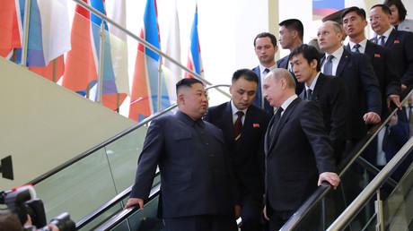 Treffen von Kim Jong-und und Wladimir Putin in Wladiwostok, Russland, 25. April 2019.