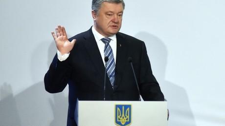 Der ukrainische Präsident Petro Poroschenko während eines Wahlkampfauftritts in April 2019