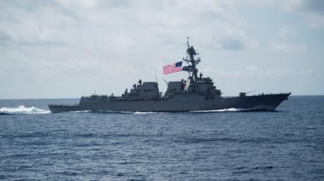 Lenkwaffenzerstörer der Arleigh Burke-Klasse USS Wayne E. Meyer im Südchinesische Meer (Archivbild), 11. April 2017.