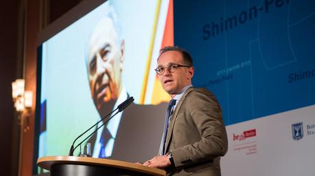 Der deutsche Außenminister Heiko Maas bei der Verleihung des Schimon-Perez-Preises am 8. Oktober 2018 in Berlin
