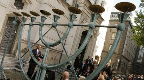 Obama-Besuch der großen Synagoge in Stockholm, Schweden, 4. September 2013.