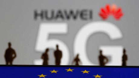 Huawei- und 5G-Logo, 30. März 2019.
