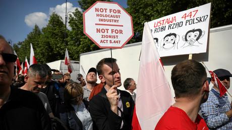 Proteste am 11. Mai in Warschau gegen die Forderung zur Wiedergutmachung für enteignete jüdische Überlebende des Holocausts.