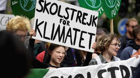Die schwedische Klimaaktivistin Greta Thunberg bei einem Klima-Protest in Stockholm, Schweden, 24. Mai 2019.