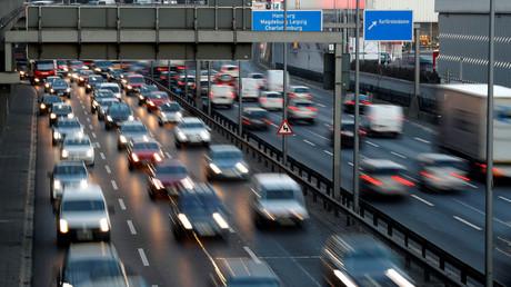 A100 Stadtautobahn Berlin, Deutschland, 15. Februar 2019.