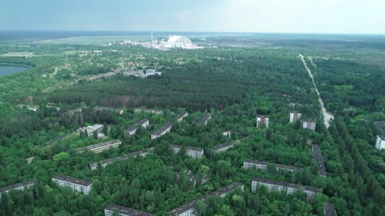 Drohne filmt Geisterstadt Pripyat 33 Jahre nach der Tschernobyl-Katastrophe