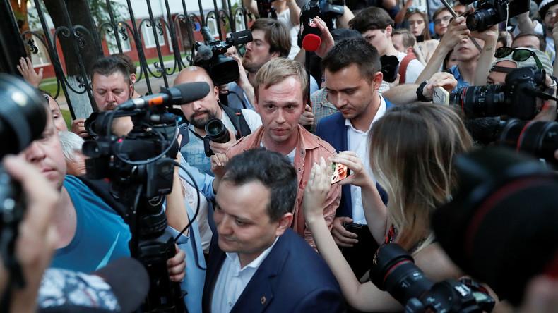 LIVE: Festnahmen bei Demonstration von Unterstützern des Journalisten Golunow in Moskau
