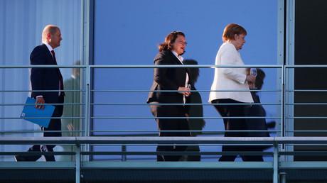 Koalitionsgespräche zwischen Olaf Scholz, Andrea Nahles und Angela Merkel, Berlin, Deutschland, 3. Juli 2018.