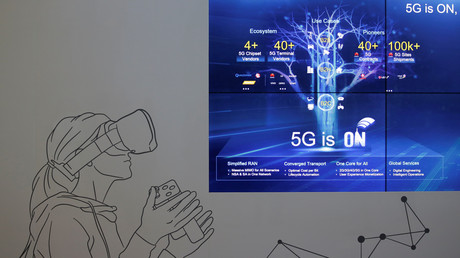 Ein Showroom mit 5G-Technologie in Huaweis Hauptsitz in Shenzhen, Provinz Guangdong, China, 29. Mai 2019