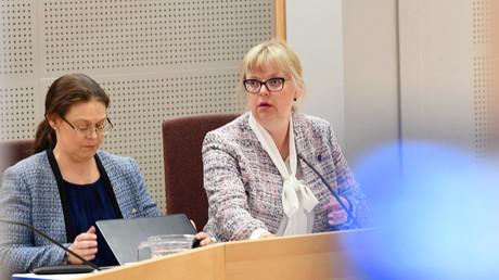 Die stellvertretende Staatsanwältin Eva-Marie Persson beim Gericht von Uppsala in einer Pressekonferenz zu den Anschuldigungen gegen Julian Assange, Schweden, 3. Juni 2019.